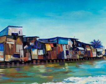 Vietnam Landscape. Ocean Painting. Mekong Delta Vietnam. Asian Landscape