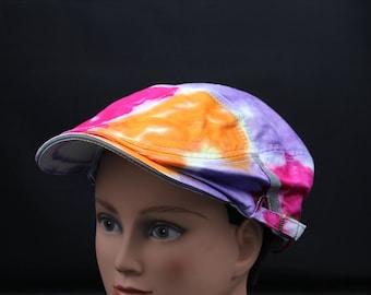 Tie Dye Flat Driving Samuel L Jackson Hat, OOAK Patchwork Trippy Golf Cap