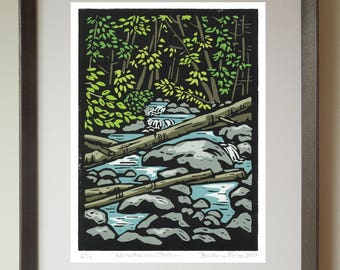 White Mountain Stream Hand Pulled Linocut