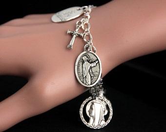 Saint Genevieve Bracelet. Catholic Bracelet. St Genevieve Charm Bracelet. Christian Jewelry. Religious Jewelry. Handmade Jewelry.