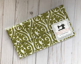Bright Green Filigree Diaper Clutch with Changing Pad - Diaper Holder - Gray  - Baby Shower Gift - Gift for New Mom