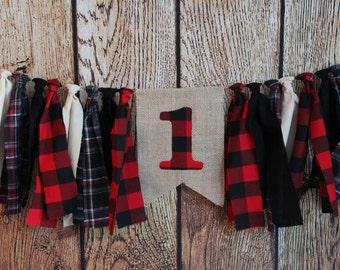 Lumberjack Birthday Rag Banner Buffalo Plaid Rag Banner Red and Black Plaid Banner