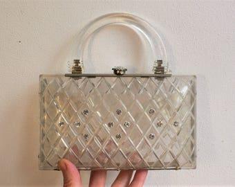 Vintage 1950s Lucite Box Bag Handbag RARE clear LUCITE / perspex 1950s Lucite Purse Handbag