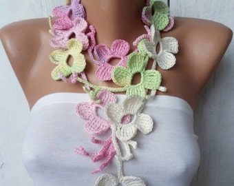 Crochet Flower lariat garland necklace Floral Leaf scarf Neck accessories Mother day gift