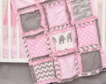 Elephant Nursery Baby Girl Quilt - Pink / Gray Nursery Crib Rag Quilt - Safari Crib Bedding - Jungle Crib Bedding Baby Girl Nursery