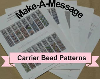 Make-A-Message Carrier Bead Patterns - done in odd count peyote stitch - Instant digital download