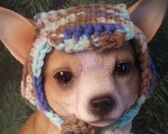 Handmade Crochet Fashion Dog Hat XXS Multi-Color
