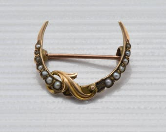 Beautiful* 14k Gold & Pearl Edwardian Crescent Moon Pin / Brooch