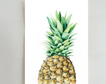 Pineapple print, watercolor pineapple print, pineapple art print, illustration print, for kitchen, gift for her, glicee print, pineapple art