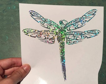 """Dragonfly Tribal 6"""" Silver Glitter Holographic Vinyl Decal Sticker Car Window Bumper Computer Laptop"""