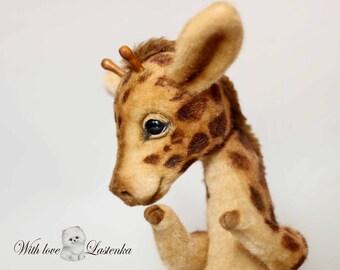 Giraffe teddy Christopher OOAK collectible artist  handmade plush stuffed teddy bear toy cute giraffe cub realistic  bear (made to order)