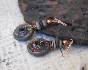 Raku Earrings, Ceramic Earrings, Boho Hippie Jewelry, Rustic Gray Earrings, Stone Bead Earrings, Earthy Earrings, Copper Earrings