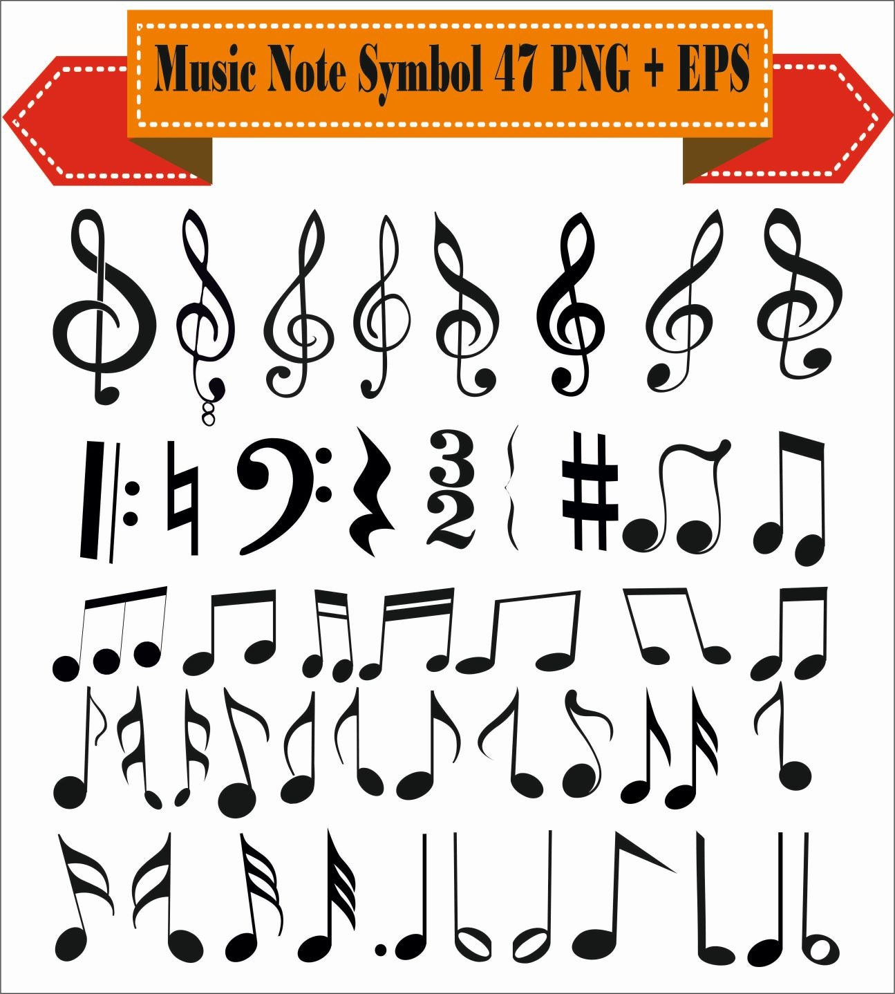 Music note sol key sheet symbols vintage motif pack silhouette zoom biocorpaavc Image collections