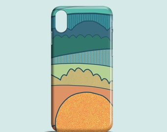 Sun mobile phone case, iPhone X, iPhone 8, iPhone 7, 7 Plus, iPhone SE, iPhone 6/6S, iPhone 5S, iPhone 5 / illustrated sunset iPhone case