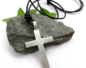 Large Rustic Cross Necklace, Mens Cross Pendant - Christian Jewelry, Adjustable Leather Cord