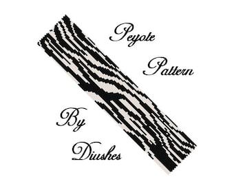 Peyote beading pattern Bracelet cuff Zebra. Beadwork, beaded, beadwoven, seed bead pattern, peyote stitch, zebra skin, wild, black, white