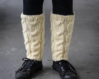 Leg Warmers In Ivory / Boot cuff / Wool Leg Warmers