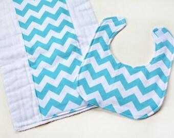 Baby Gifts Handmade Baby Bib Girl Baby Gift Set Aqua Burp Cloth Washcloths Mini Security Blanket, Baby Blanket, Aqua Bib