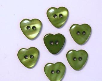 Heart 13mm set of 10 buttons: Green - 001983