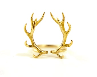 Deer Antler Ring Antique Gold Plated Silver Adjustable Ring Horns Wrap Ring Boho Jewelry - FRI001YGS