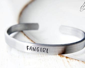 Fangirl  Hand Stamped Cuff Bracelet, Fandoms, Supernatural, Doctor Who, LOTR, Nerd Jewelry, Geek Gift