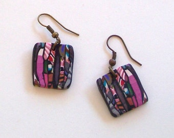 Pink and Black Square Lightweight Polymer Clay Earrings by Carol Wilson of Je t'adorn