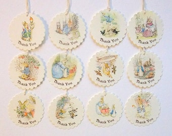 Peter Rabbit, Thank You Tags, Baby Shower, Birthday Party, First Birthday, Size: 2 inches, Choose Quantity