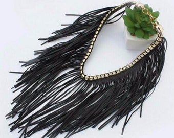 Lulu AZ Black Faux Leather Fringe Choker Necklace w/ Rhinestone Collar NEW RFC1