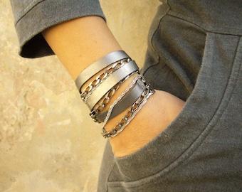 Leather Silver Wrap Bracelet Women, Triple Wrap Leather Bracelet, Leather and Silver Wrap Bracelet, Leather and Chain Bracelet, Multi Wrap