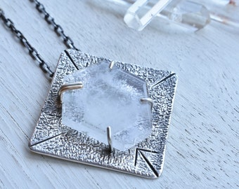 Ascension- geometic Quartz in sterling and fine silver with 14kt gold accent- necklace-talisman