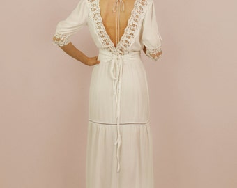 Distressed Vintage White Lace Dresses