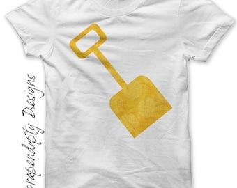 Sand Shovel Iron on Transfer - Summer Iron on Shirt PDF / Kids Summer Shirt / Toddler Yellow Shovel Tshirt / Kids Boys Clothing Tops IT41