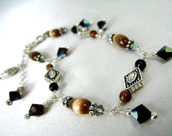 Brown Catseye and Agate Sterling Silver Adjustable Dangle Bracelet with Swarovski Crystals