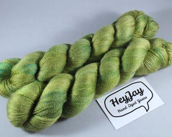 Hand Dyed Lace Merino/Silk Yarn - Grasshopper