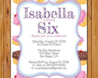 Cupcake Birthday Party Invite Little Girls First 1st 2nd 3rd 4th Invitation Pink Purple Bake Sale 5x7 Digital JPG File (289)