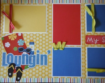 Loungin' Summer  12x12 Scrapbook Pages for your FAMILY  Boy GIRL SUMMER Pool