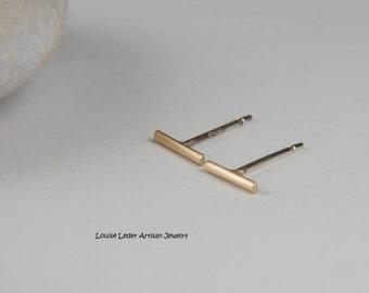Yellow Gold Earrings Solid Gold Earrings Handmade Gold Line Earrings 14K Gold Earrings Gold Bar Studs