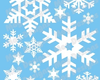 "Snowflakes - Vinyl Decal - White Snowflakes - 20 - includes 1"" snowflakes with a few 4-5 inch"