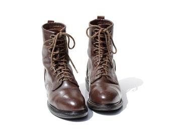 Vintage Dark Brown Leather Steel Toe Work Boots / size 8.5