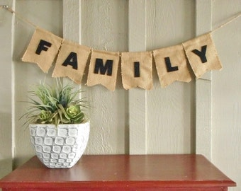 Custom Family Banner in Burlap, Family Reunion Sign, Photo shoot, Rustic Home Banner