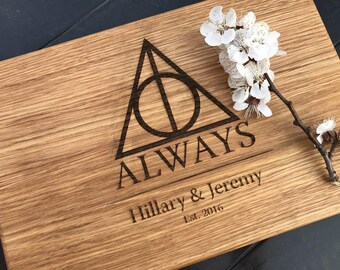 Harry Potter ALWAYS, Personalized Cutting Board ,monogram cutting board, Family Established sign Custom cutting boards Wedding Gift harry07