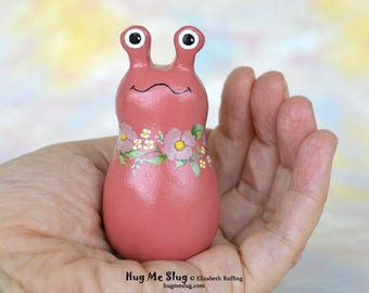 Handmade Slug Figurine, Miniature Sculpture, Antique Rose Floral, Hug Me Slug, Animal Totem Charm Figure with Flowers, Personalized Tag