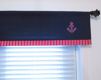 ANCHOR Nautical  Trimmed Window Valance Navy Blue White Red Curtain Design by OldStation!
