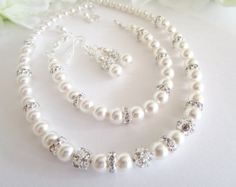 Pearl Jewelry Set, 3 Piece Necklace Bracelet Earrings Set Swarovski Pearl and Rhinestone Jewelry Set Bridal Jewely Set Three Piece Jewelry
