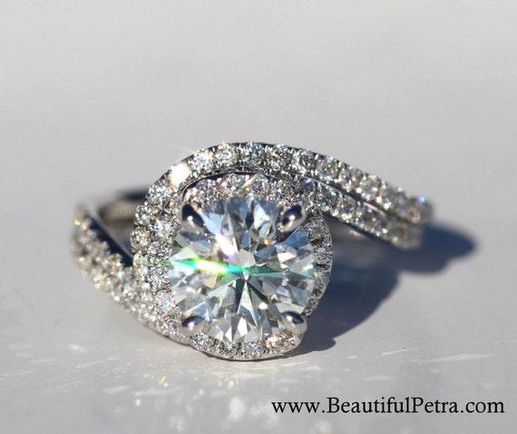 14k white gold diamond engagement ring and wedding band set halo unique thin swirl pave weddings luxury brides bp0013 - Engagement Ring And Wedding Band Set