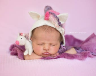 Felted Unicorn - Newborn Made to Order