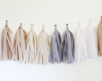 DIY Tassel Garland Kit - Off White, Gray, Kraft, White : Natural DIY Party Decorations, Tissue Paper Tassels, Birthday Party Banner