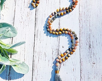 Moonstone & Labradorite Mala • Tassel Necklace • Chakra Necklace • Long Necklace • Yoga Jewelry • Prayer Beads • Meditation Mala • 108 Mala