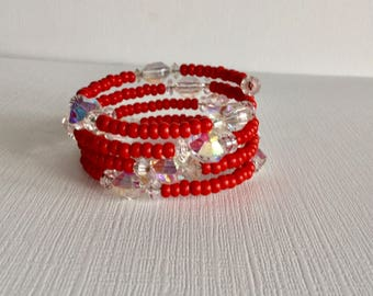 Red & Clear Crystal Wrap Around Memory Wire Beaded Bracelet