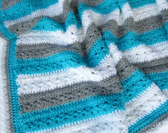 Crochet PATTERN Baby Afghan Blanket - Lakeside Blanket Pattern